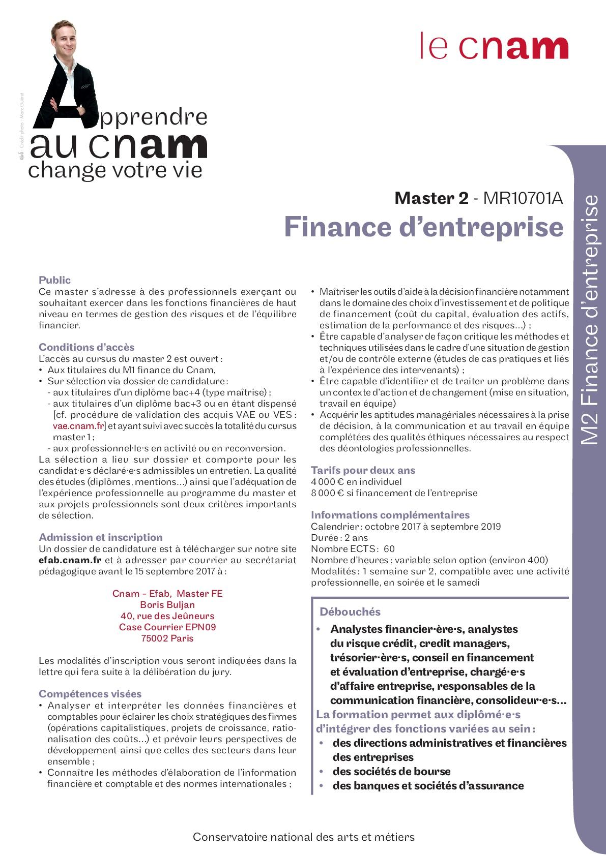 Plaquette Master 2 Finance d'entreprise