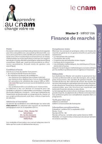 Plaquette Master 2 Finance de marché